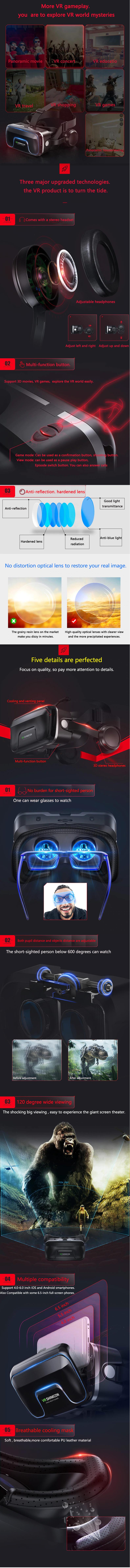 купить очки виртуальной реальности VR shinecon